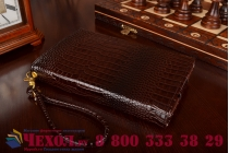 Фирменный роскошный эксклюзивный чехол-клатч/портмоне/сумочка/кошелек из лаковой кожи крокодила для планшета Irbis TZ01. Только в нашем магазине. Количество ограничено.