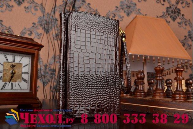 Фирменный роскошный эксклюзивный чехол-клатч/портмоне/сумочка/кошелек из лаковой кожи крокодила для планшета Irbis TZ83. Только в нашем магазине. Количество ограничено.