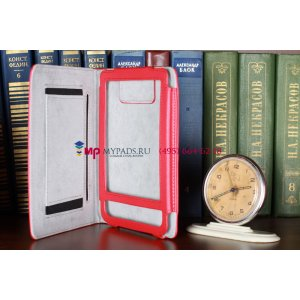 Чехол-обложка для Pocketbook 622 Touch красный кожаный