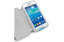 Фирменный чехол-книжка из качественной водоотталкивающей импортной кожи на жёсткой металлической основе для Samsung GALAXY Ace 4 Duos SM-G313HU/DS  бирюзовый