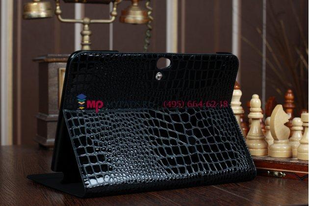 Фирменный чехол для Samsung Galaxy Note 10.1 N8000 кожа крокодила брутальный черный