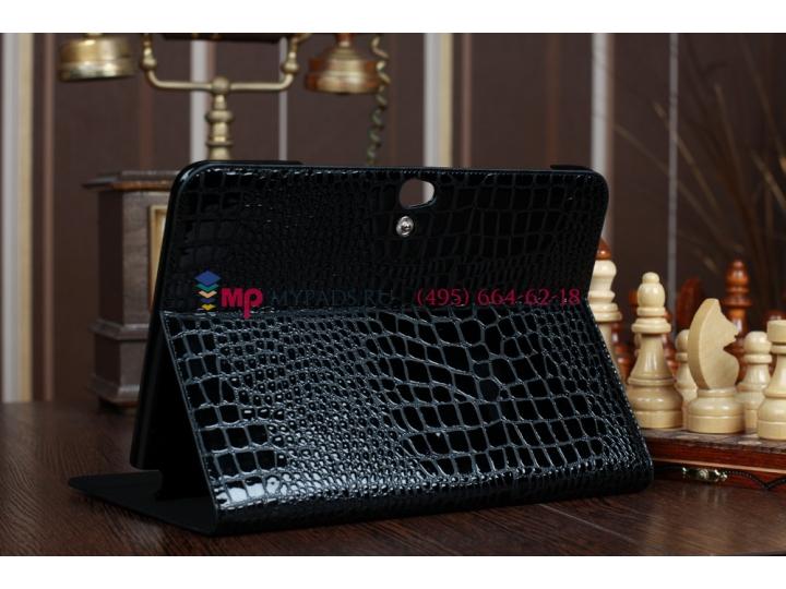 Фирменный чехол для Samsung Galaxy Note 10.1 N8000 кожа крокодила брутальный черный..