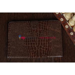Фирменный чехол для Samsung Galaxy Note 10.1 N8000 кожа крокодила шоколадный коричневый