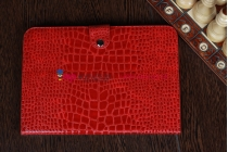 Фирменный чехол-футляр для Samsung Galaxy Note 10.1 N8000 лаковая кожа крокодила огненный красный