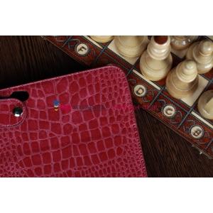 Фирменный чехол-футляр с мульти-подставкой для Samsung Galaxy Note 10.1 N8000 лаковая кожа крокодила малиновый