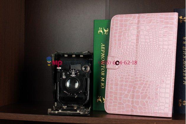 Фирменный чехол для Samsung Galaxy Note 10.1 N8000 кожа крокодила розовый
