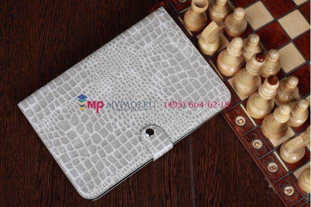 Фирменный чехол для Samsung Galaxy Note 10.1 N8000 кожа крокодила серый