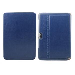 Фирменный чехол-футляр для Samsung Galaxy Note 10.1 N8000 из импортной кожи синего цвета