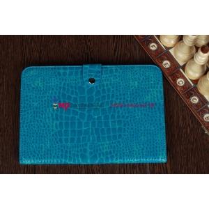 Фирменный чехол-футляр для Samsung Galaxy Note 10.1 N8000 лаковая кожа крокодила цвет морского бриза бирюзовый