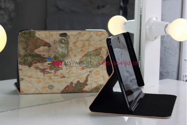 "Чехол для Samsung Galaxy Note 10.1 N8000 тематика ""карта мира"" кожаный желтый"
