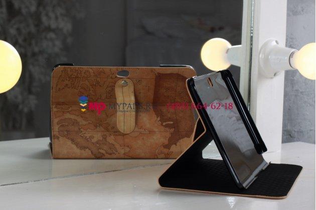 """Чехол для Samsung Galaxy Note 10.1 N8000 тематика """"карта мира"""" кожаный коричневый"""