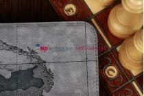 "Чехол для Samsung Galaxy Note 10.1 N8000 тематика ""карта мира"" кожаный серый"