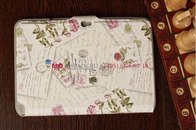 """Чехол для Samsung Galaxy Note 10.1 N8000 """"тематика почтовые конверты"""" белый"""