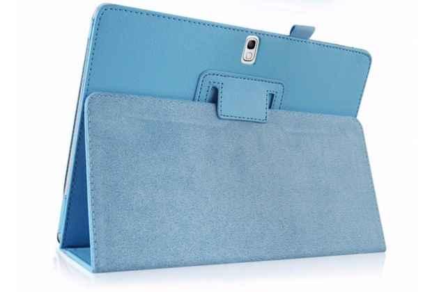 Фирменный чехол-обложка с подставкой для Samsung Galaxy Note 10.1 N8000 голубой кожаный