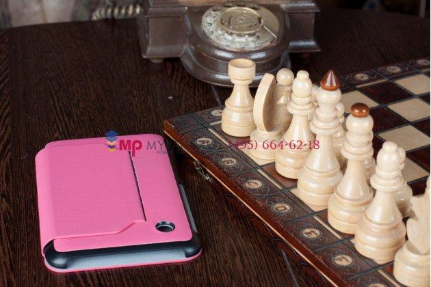 Чехол для Samsung Galaxy Tab 2 7.0 P3100 розово-черный кожаный