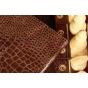 Лаковая блестящая кожа под крокодила чехол для Samsung Galaxy Tab 2 10.1 деловой коричневый