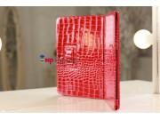 Лаковая блестящая кожа под крокодила фирменный чехол для Samsung Galaxy Tab 2 10.1 алый огненный красный..