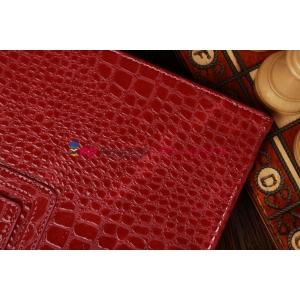 Лаковая блестящая кожа под крокодила фирменный чехол для Samsung Galaxy Tab 2 10.1 цвет фуксии