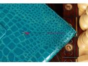 Лаковая блестящая кожа под крокодила фирменный чехол для Samsung Galaxy Tab 2 10.1 кожа крокодила цвет морской..