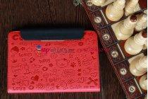 "Чехол для Samsung Galaxy Tab 7.7 P6800 ""тематика Pretty Cute"" красный кожаный"