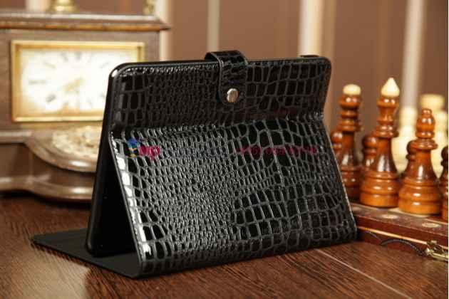 Фирменный чехол для Samsung Galaxy Tab 1 10.1 P7500/P7510 кожа крокодила брутальный черный