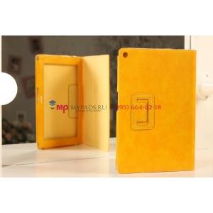 Чехол-обложка для Sony Xperia Tablet Z желтый кожаный